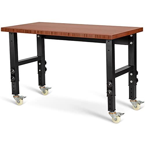 COSTWAY verstellbare Werkbank mit Rollen, strapazierfähiger Arbeitstisch aus Bambus Metallrahmen, Werkbanktisch Werkzeugtisch mit großer Arbeitsfläche für Garage Werkstatt (HW66371CF)