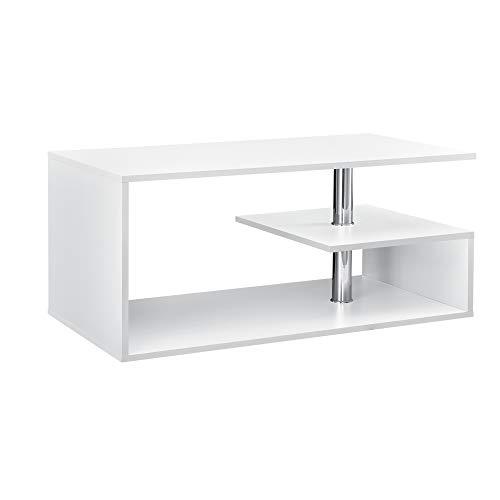 [en.casa] Table Basse Table de Salon avec Étagère Rangement en MDF 90 x 50 x 41 cm Blanc
