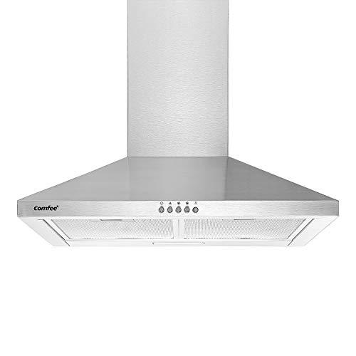 Comfee CHT3.6B 60cm Dunstabzugshauben Wanddunstabzugshaube mit 320m³/h Luftstrom, Edelstahl, 5 Schichten waschbarer Fettfilter, Aktivkohlefilter, 3 Stufen, einstellbarer Kamin, 1 LED-Licht