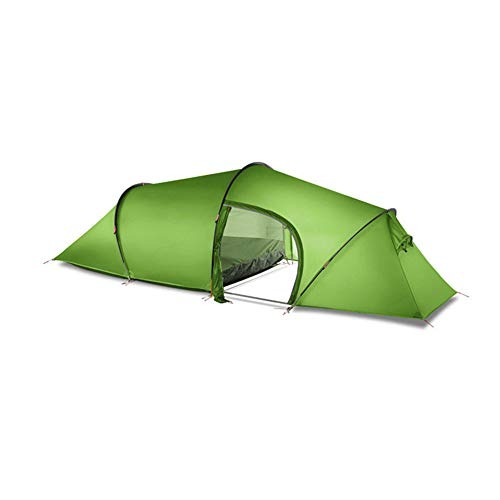 Tent BLTLYX 2 Person 2 Room 4 Seasons Tunnel Tent 15d Silicon Outdoor Camping Hiking Climbing Ultralight Large Space 210t Tents 210T 4 Season Green
