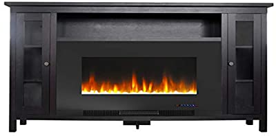 Cambridge Somerset 70-in. TV Stand with Multi-Color LED Flames, Crystal Rock Display, and Remote Control