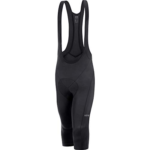 GORE Wear C3 Men's 3/4 Long Cycling Bib Shorts With Seat Insert, L, Black