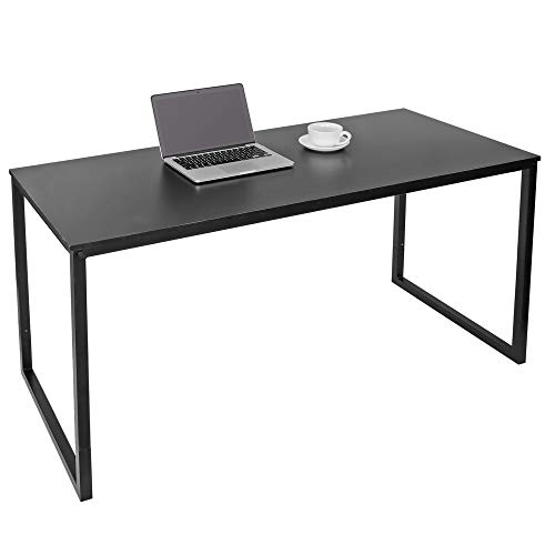 SUPER DEAL Computer Desk 47 Inch Modern Sturdy Office Desk PC Laptop Notebook Simple Writing Table for Home Office Workstation, Black