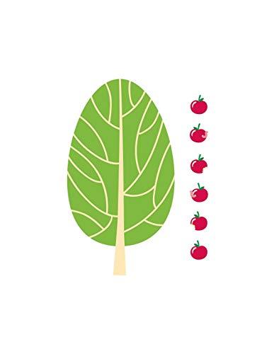 Sticker forêt : Pommier et pommes - Format : 17 x 28 cm