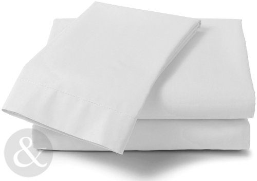 Just Contempo Uni Drap-Housse Uni Ppercale, Polycoton, Blanc, Simple