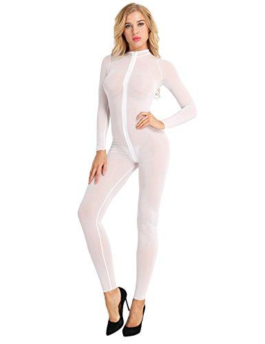 Agoky Damen Eleganter Overall Jumpsuit lang Schlank Einteiler Langarm Body Halb-transparent Unterwäsche mit Reisverschluss Ganzkörper Hose Party Clubwear Weiß L