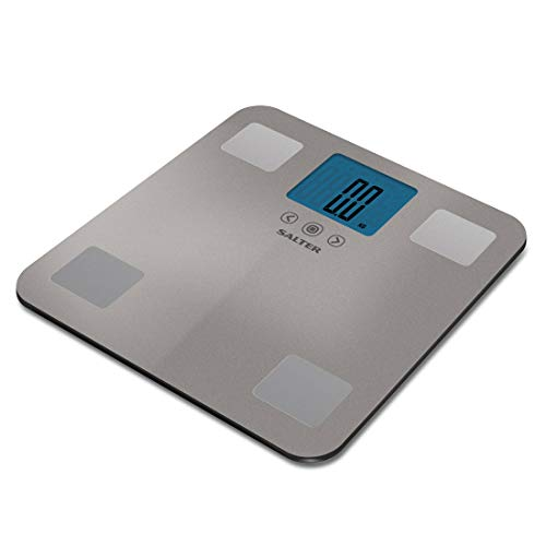 SALTER Max 250kg Analysewaage Digitale Badezimmerwaage, Gewicht, BMI, BMR, Wasser- Fett- und Muskelmasse, 12 Personenspeicher, großes Display, sofort Anzeige Step-On Funktion
