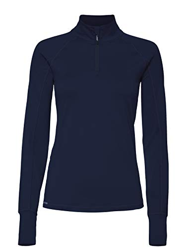 CARE OF by PUMA Top de Sport Manches Longues Demi-Zip Femme, Bleu (Navy Blazer), 44, Label: XL