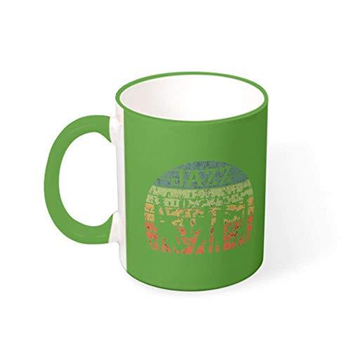 Taza de café Jazz de primera clase de cerámica retro de moda – taza de leche para salón verde 330 ml