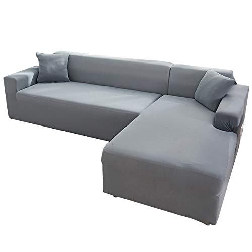 AllRing Sofabezug L-Form Ecksofa Sofa Spannbezug Stretch Sofabezug Set für 1-4 Sitzer Sofa(Wenn Ihr Sofa für L-Form Ecksofa ist, müssen Sie Zwei (Light Grey,2-Seater 145-185cm)