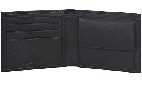 Eono by Amazon - Cartera de Cuero para Mujer y Hombre con diseño Plano y protección contra Lectura RFID (Cuero Negro napa)