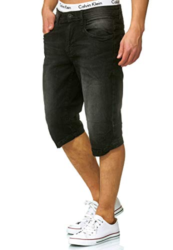 Indicode Herren Jaspar Jeans Shorts mit 5 Taschen aus 98% Baumwolle Knielang | Kurze Denim Stretch Sommer Hose Used Look Washed Regular Fit Men Short Pants Freizeithose f. Männer Black L