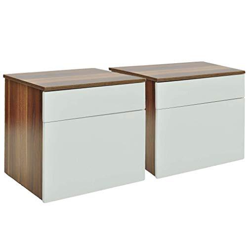 vidaXL 240079 nachtkastje 2 stuks met 1 lade nachtkastje bijzettafel bruin/wit, MDF, één maat