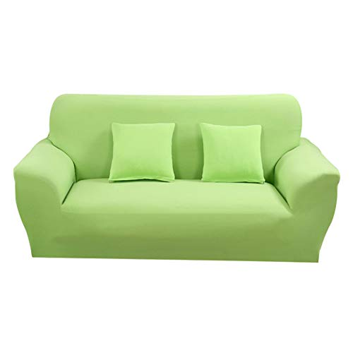 Hotniu 1-Stück Elastisch Sofaüberwurf, Sofaüberzug Polyester, Sofahusse Sofa Abdeckung Stretch, Sofabezug für Sofa, Couch, Sessel zum Schutz, mehrere Farben (4 Sitzer 225-290cm, Grün #2)
