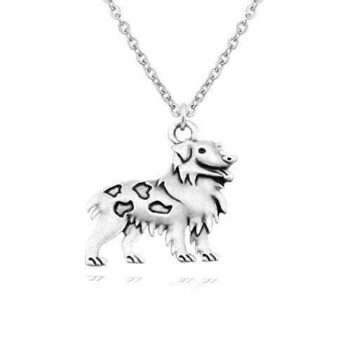 VAWAA Antike Silber Farbe Boho Australian Shepherd Hund Anhänger Statement Halskette Frauen Halsband Schmuck Edelstahl Lange Kette Männer