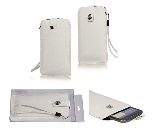 DFVmobile - Etui Tasche mit Texturierter mit Rausziehband& Magnetverschluss fürUMi Hammer S - Weiß