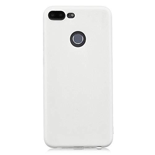 cuzz Funda para Huawei Honor 9 Lite+{Protector de Pantalla de Vidrio Templado} Carcasa Silicona Suave Gel Rasguño y Resistente Teléfono Móvil Cover-Blanco
