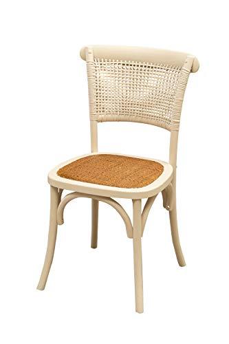 Stuhl Thonet aus massiver Esche und Sitzfläche aus Rattan, Antik-Weiß, L45 x T50 x H88 cm