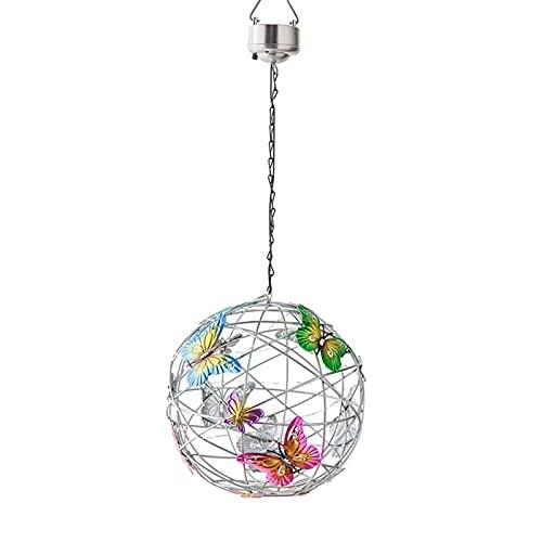 Niazi Lámpara solar para jardín, bola colgante decorativa con mariposa, resistente al agua, para casa, caminar, patio, yard