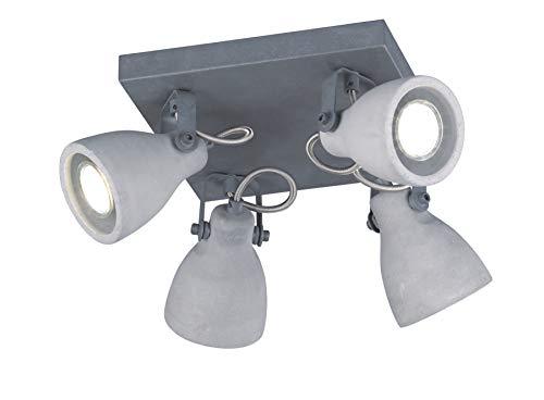 Trio Leuchten Deckenleuchte Concrete 802530478, Metall, Schirm Beton, 4 x GU10