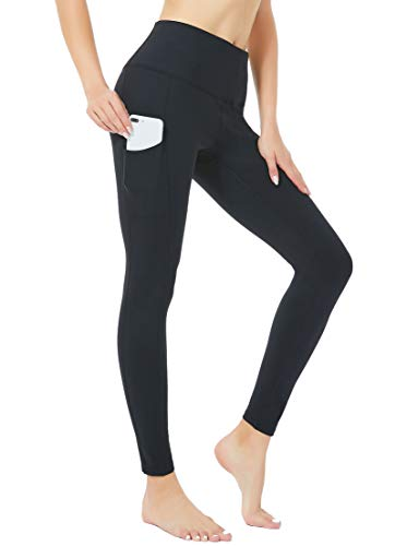 SILKWORLD Fleece Lined Leggings for Women Winter Workout Running Tights with Hidden Pockets, Black, Medium