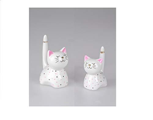 Formano Deko Katzen oder Spardose Katze Luky Keramik weiß (2er Set Dekofiguren Katzen 10+12cm, Keramik)