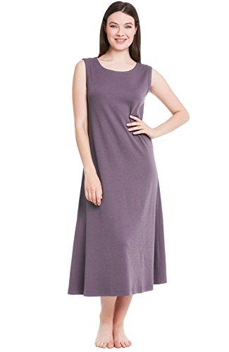 Alexander Del Rossa Womens Cotton Knit Nightgown, Long Sleeveless Sleep Dress, Medium Pebble (A0404PBLMD)