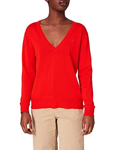 GANT Damen Light Cotton V-Neck Pullover, Lava RED, L