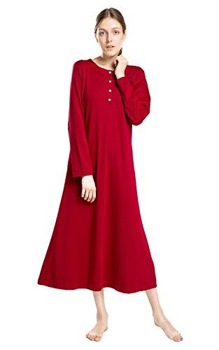 lantisan Cotton Knit Long Sleeve Nightgown for Women, Henley Full Length Sleep Dress, WineRed XXL