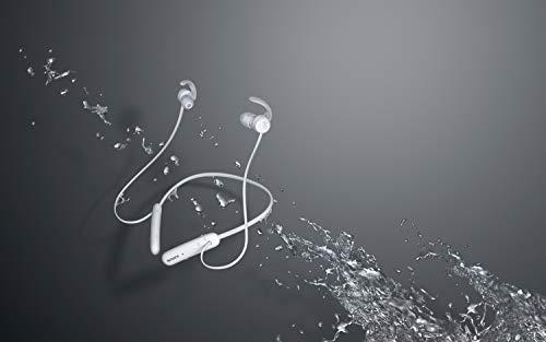 Sony WI-SP510 kabellose Bluetooth In-Ear Kopfhörer (bis zu 15 Stunden Akkulaufzeit, IPX5 wasserfest, sicherer Halt, Neckband-Style, Ohrhörer, Freisprechfunktion, Headset mit Mikrofon) Weiß