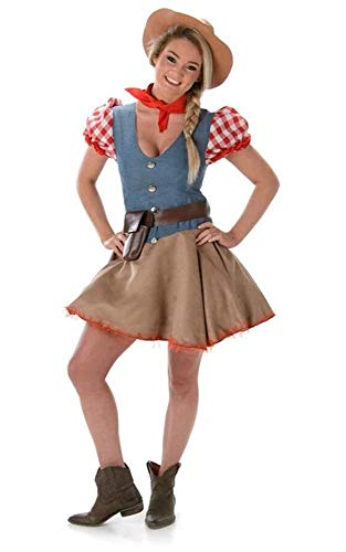 Rodeo Cowgirl Ladies Fancy Dress Wild West Western Womens Cowboy Adult Costume