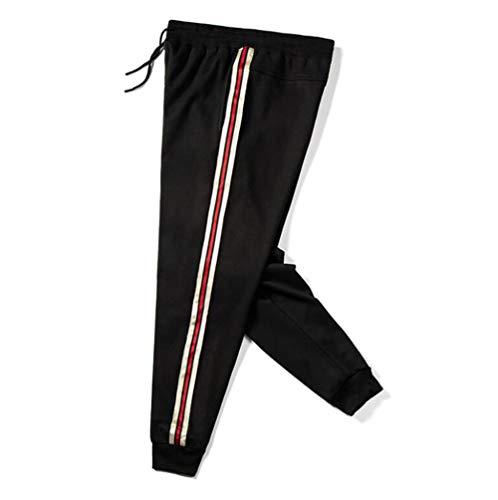 Herren Trainingshose / Thermohose mit Gummizug in der Taille, Workout, Laufen, Sweatpants für Herbst und Winter, Schwarz, XXL
