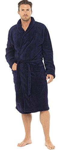 Pierre Roche Peignoir en polaire mi-long pour homme, divers Styles, tailles S à XL - bleu - Medium