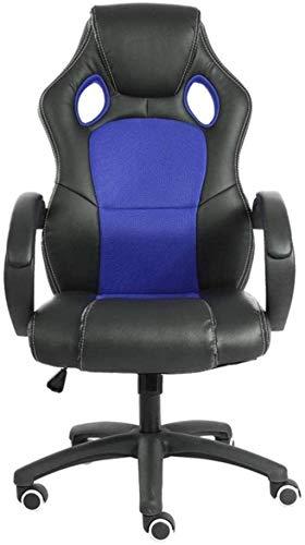 HJW Silla ergonómica para videojuegos con respaldo alto y supervisor de carreras para computadora o oficina, silla ajustable, color azul, 117 – 127 x 65 cm