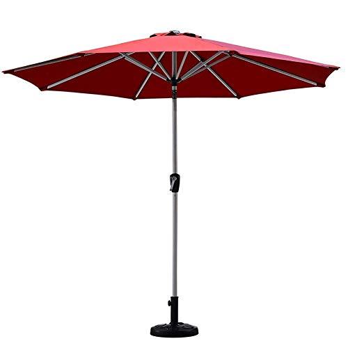 UWY Sombrillas de jardín Sombrilla Redonda roja para Patio, 8,9 pies / 2,7 m Sombrilla de Mesa de Mercado con botón de inclinación y manivela, Exteriores, Camping, Patio (Color: Si