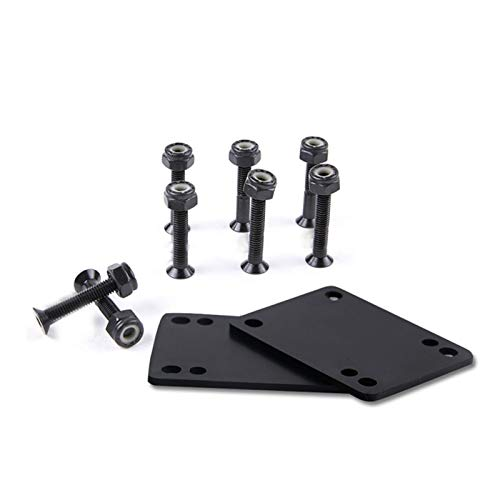 POHOVE Reparatur-Set für Longboard-Skateboard-Riser-Pads, Hardware-Schrauben, Dichtung, 3 mm, 6 mm, Sport, schwarz/gold