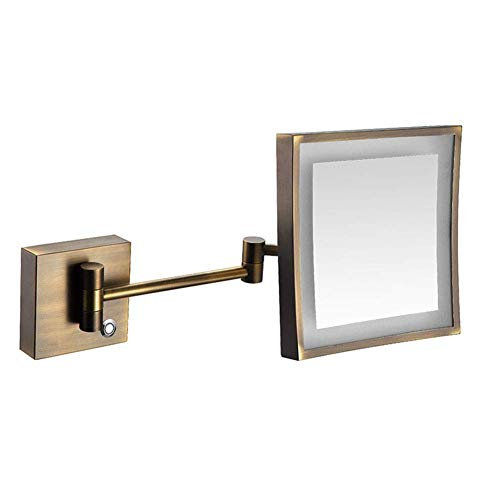 Nhlzj XIAOQIANG 8-Inch Wall Mount Makeup Mirror with 3X,360 Degree Swivel Rotation with Distortion Free View,Single-Sided,Extendable Arm (Color : Antique Color, Size : Plug)