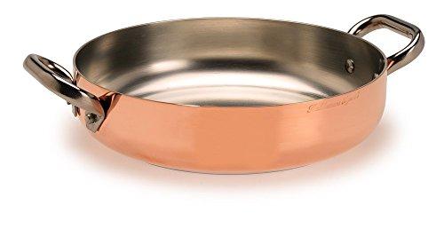 Pentole Agnelli ALCU110PI24 Verzinnte Kupferpfanne mit 2 Edelstahlgriffen und Induktionsboden, 24 cm