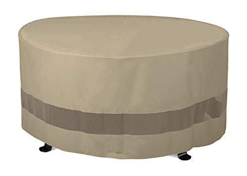 "SunPatio Outdoor Fire Pit Cover, Patio Ottoman Cover, Round Table Cover 50""Dia x 24""H, Water Resistant, Lightweight Patio Furniture Cover with Mesh Air Vents and Closure Straps, Neutral Taupe"