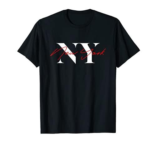 NY Initials con un nombre único de Nueva York escrito a mano Camiseta