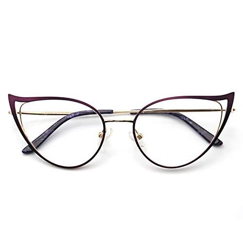 ZYHZP Gafas ópticas Anti-Azules, Damas de Cristal de Vidrio de Gato de Gato de Metal de Metal de Metal de Metal UV400, Anti. (Frame Color : Púrpura)
