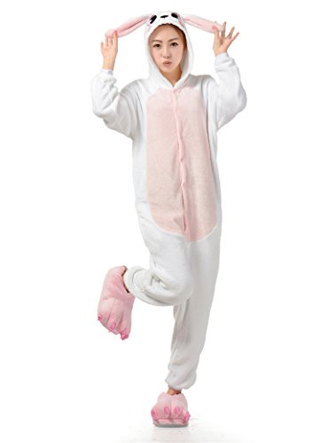 Ultra Soft Plush Pink Easter Bunny Costume Cosplay Sleepsuit XL
