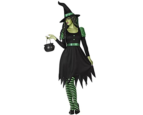 ATOSA disfraz bruja mujer adulto verde negro M