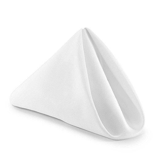 Trimming Shop 50,8 cm bomull polyester vit bordsservett för hem, hotell, middag, bröllop, bankett, fest, evenemang, fållade kanter lätt och maskintvättbar, 10 st