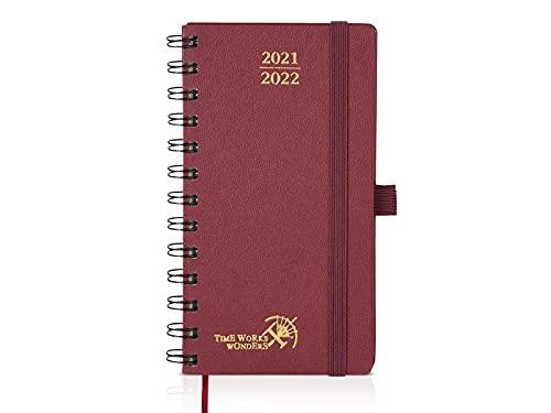 Agenda 2021 2022 Settimanale Tascabile env. A6 - Diario Scuola 2021 2022 Piccola (Agosto 2021 - Agosto 2022) con Copertina Rigida, Pagine di Note e Rubrica, 16,8 x 9 cm, Borgogna