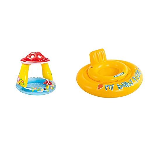 Intex 57114 Piscina Baby Fungo, 102 X 89 Cm & Baby Float Salvagente, Colore Giallo, 70X70X10 Cm, 56585