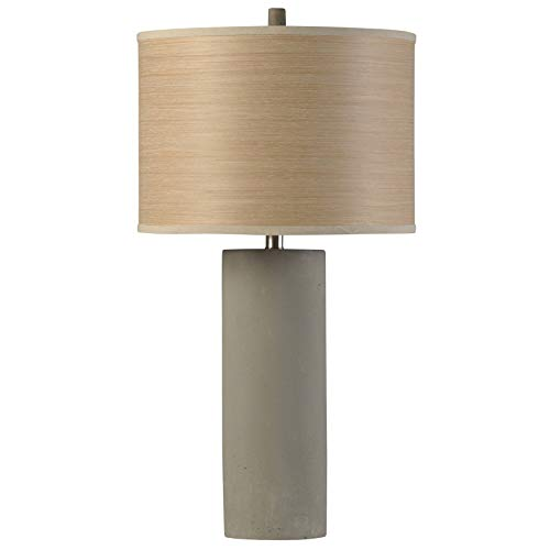 Grey Cylinder Concrete Table Lamp with Outer Wood Grain/Inner Branch Print Drum Shade Tan Modern Contemporary