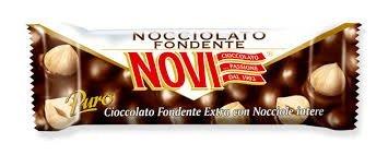 NOVI - 30 barrette al cioccolato fondente con Nocciole intere senza glutine (30 gr.)
