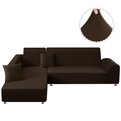 TAOCOCO Sectional Couch Covers 2pcs L-Shaped Sofa Covers Softness Furniture Slipcovers with 2pcs Pillowcases L-Type Polyester Fabric Stretch Sofa Covers 3 Seats +3 Seats (Seal Brown)