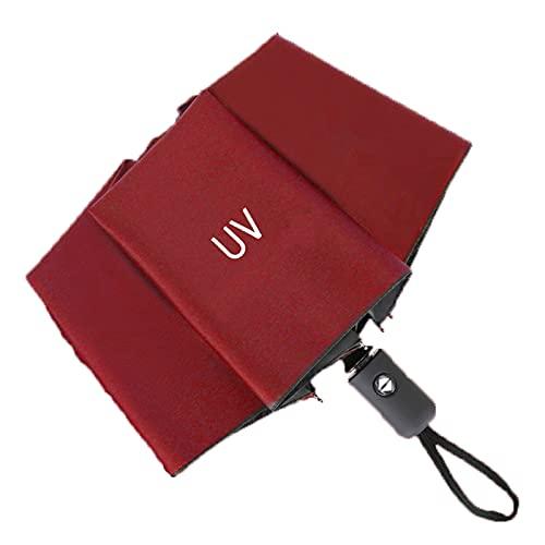 Paraguas Plegable Anti UV Automático Encendido Y Apagado, Umbrella Secado Rápido Compacto Y Ligero Durable A Prueba De Viento para Lluvioso O Soleado De Viaje (Rojo)